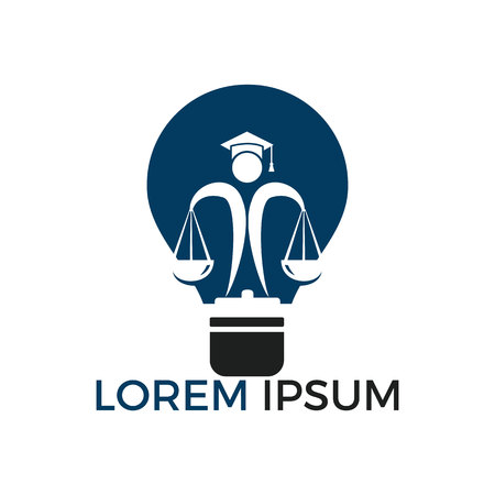 Light bulb and human holding scale of Justice. Education, legal services logo. Notary, justice, lawyer icon or symbol Vector Illustration