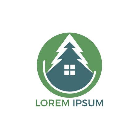 Green House Logo Design. Eco House Vector Logo Design.
