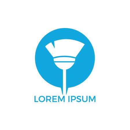 Projektowanie logo usługi sprzątania. Koncepcja ściągaczki, oczyszczania, czyszczenia na mokro, mopa, odznaki czyszczenia, zamiatania.