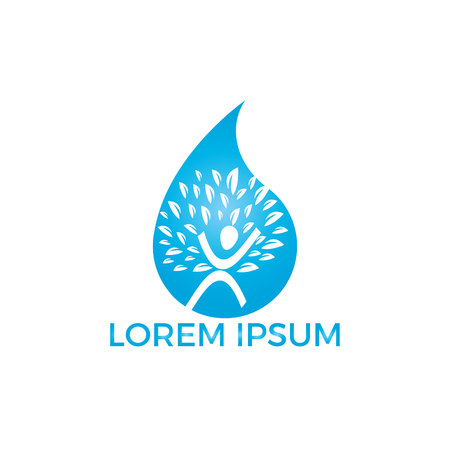Water drop with human tree icon vector logo design. Ilustracja