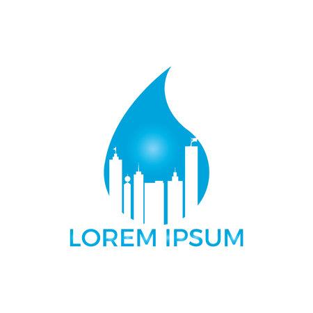Blue water drop and building logo design. Modern cleaning service logo design idea.