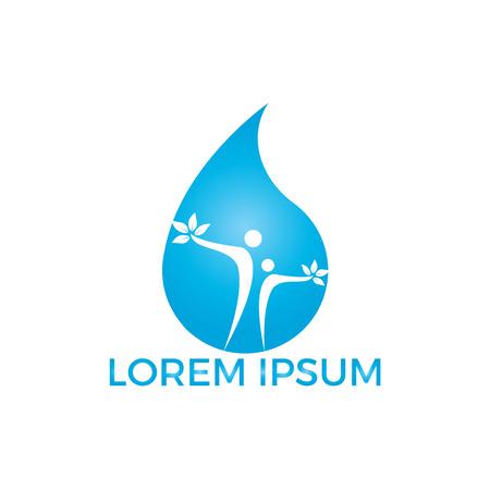Water drop with human tree icon vector logo design. Illusztráció