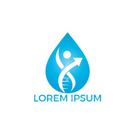 Water drop and human DNA molecules logo design. Abstract Human DNA molecular structures logo template. Standard-Bild - 120610200