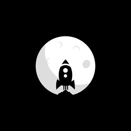 Rocket logo launches in the moon vector design. Idea for company style and logo. Ilustração