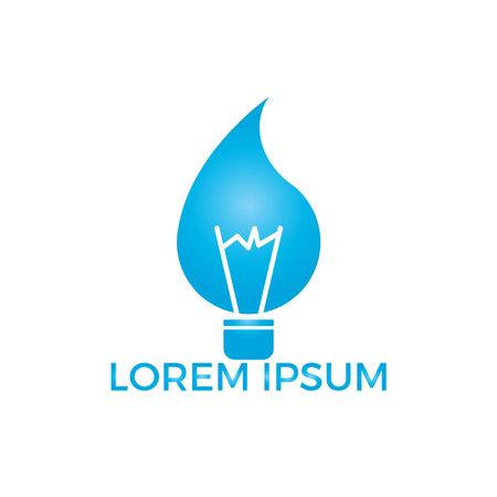 Concetto di design del logo della lampadina a goccia d'acqua. Lampadina con il concetto di energia idroelettrica goccia d'acqua.