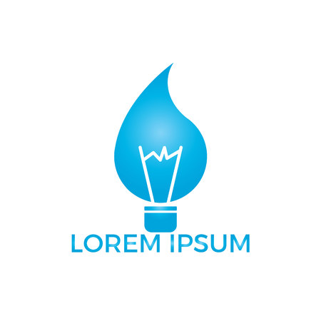 Water drop bulb logo design concept. Light bulb with water drop hydro power concept.