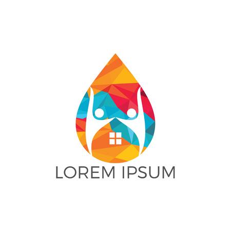 Création de logo pour la maison et la goutte d'eau. Modèle de conception de logo d'eau de maison humaine. Logo
