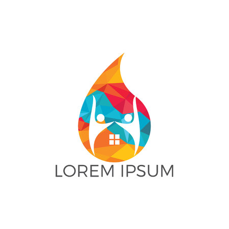 People home and water drop logo design. Human house water logo design template.