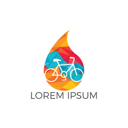 Water drop and bicycle logo design. Bike Water Logo Icon Design. Çizim