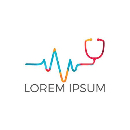 Design des Gesundheitslogos. Logo für die Klinik, Pharmaunternehmen. Logo des Hausarztes, Erste Hilfe.