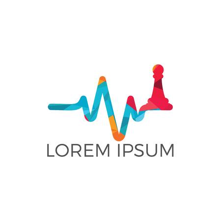 Création de logo vectoriel de battement de coeur d'échecs. Concept de logo d'échecs et de pouls. Ligne d'impulsion de battement de coeur avec deux figures d'échecs croisées. Logo