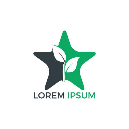 Star plant logo design. Abstract organic element vector design. Ecology Happy life Logotype concept icon.