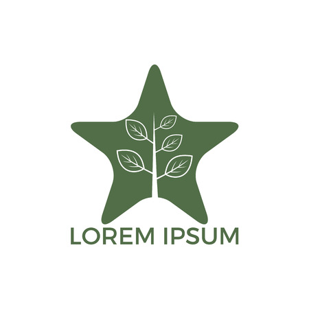 Star Tree vector logo design. Stock Illustratie