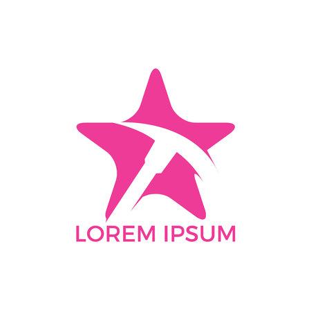 Pickaxe and star mining logo design. Mining industry logo design template. Stock Illustratie