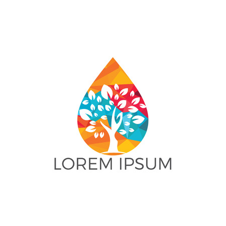 Water drop with tree icon vector logo design. Logo of energy. Renewable green energy logo design template. Nature tech sign.