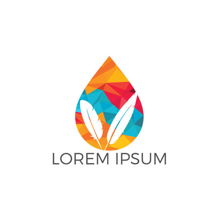 Water drop with quill icon vector logo design. Educational and institutional logo design.