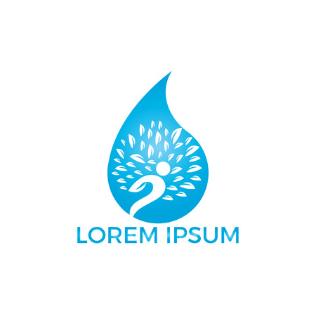 Water drop with human tree icon vector logo design. Illustration
