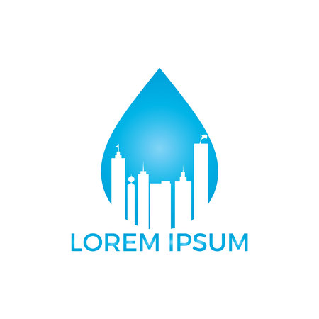 Blue water drop and building logo design. Modern cleaning service logo design idea.