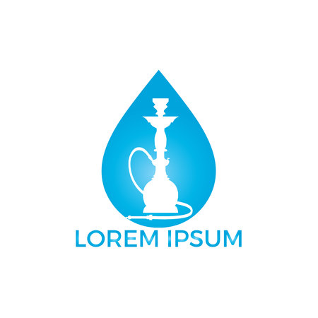 Water drop and Hookah logo design. Vintage sheesha logo. Lounge cafe emblem. Arabian bar or house, shop vector design template.