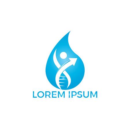 Water drop and human DNA molecules logo design. Abstract Human DNA molecular structures logo template. Standard-Bild - 122912068