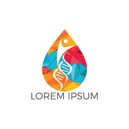 Water drop and human DNA molecules logo design. Abstract Human DNA molecular structures logo template.