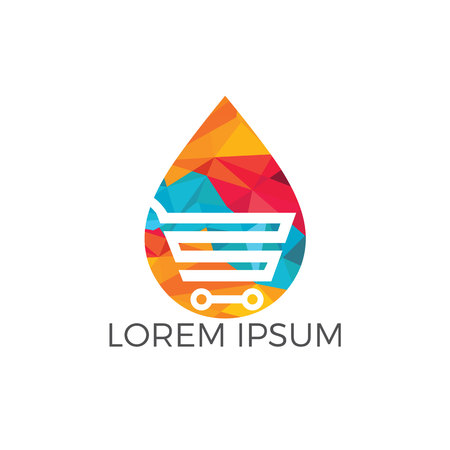 Online Water Store Logo Concept. Illustration of a water drop with a shopping cart.