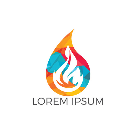 Water drop and fire logo design. Water drop restoration from burning logo design.