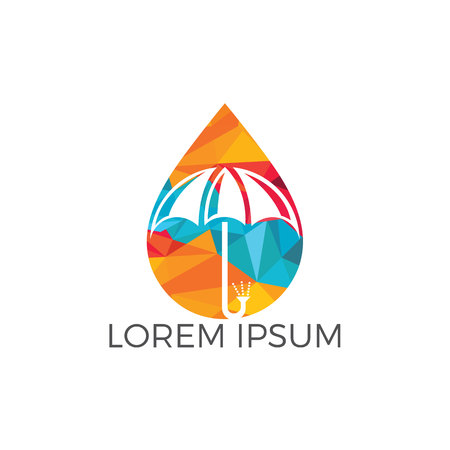 Water drop and umbrella logo design. Water proof logo vector illustration.