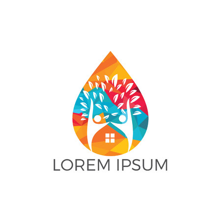 People home and water drop logo design. Human house water logo design template. Çizim