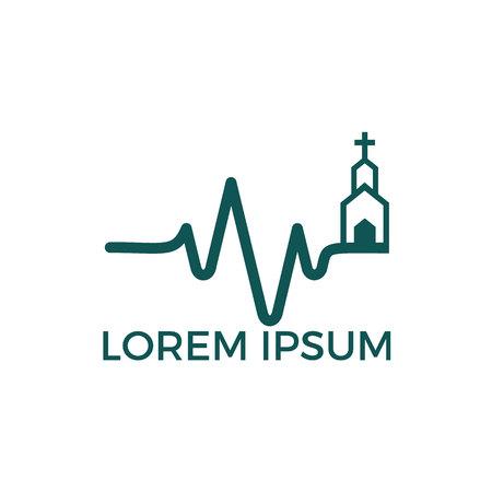 Logo für die Christliche Kirche Lebendige Kirche Puls des Lebens. Herzschlag-Pulslinie mit religiösem Zeichen.