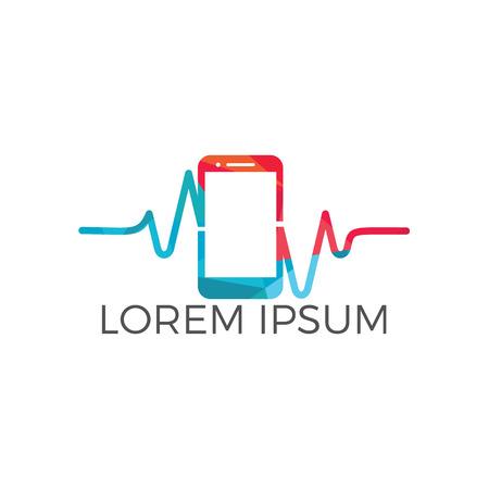 Mobile Pulse Logo Vector Design. Mobile Health Logo designs vector.