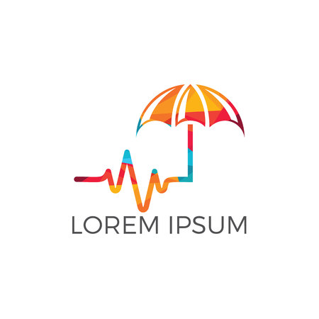 Pulse and umbrella logo design. Medical insurance vector logo concept. Illustration