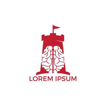 Human brain Fort Logo Design. Thinking Education Castle Logo Design Template.