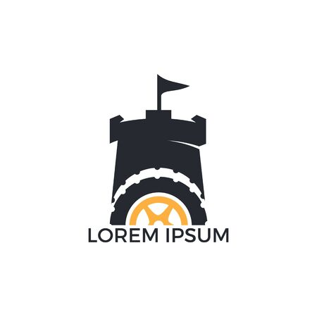 Tire and Fort Logo Design. Tire and Castle Logo Design Template. 向量圖像