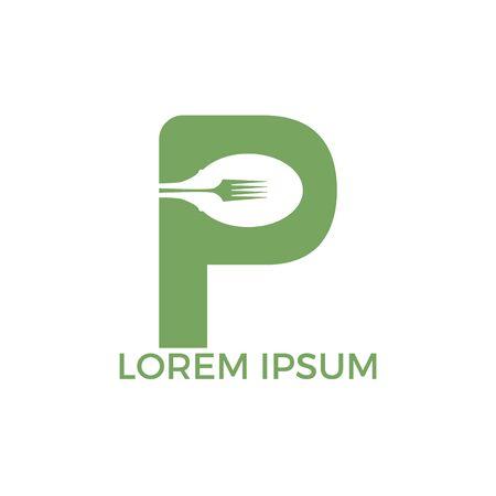 Letter P food logo vector illustration template. Spoon with letter P vector logo concept illustration.