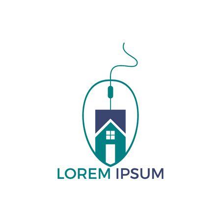 Mouse Home Logo Design. Home Click Logo Design Template.