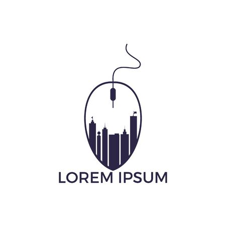 Mouse Skyline Logo Design. Building Click Logo Design Template.