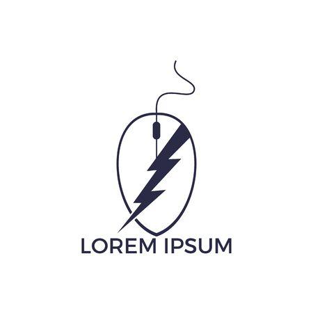 Online Electricity Logo Design. Cursor and thunderbolt logo design template.