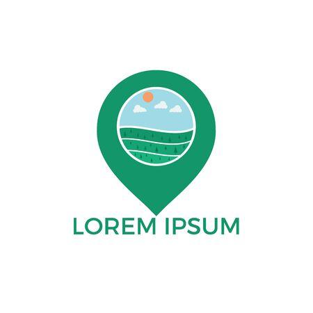 GPS landscape vector logo design. Navigation vector logo. Travel vector logo.