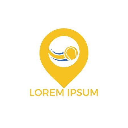 Tennis and map pointer logo design. Game and gps locator symbol or icon. Unique ball and pin logotype design template. Ilustração