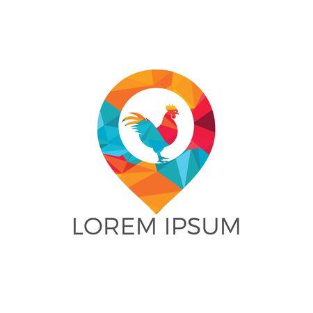 Chicken and map pointer logo design. Chicken farm locator logo design.