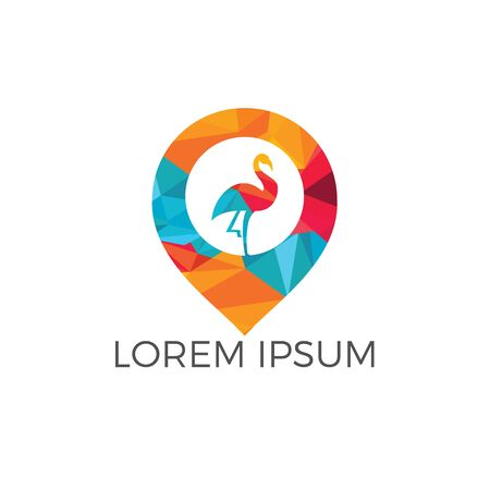 Flamingo and map pointer logo design. Modern location icon logo vector abstract bird.
