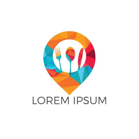 Food point vector logo design. Restaurant locator GPS logo design template.