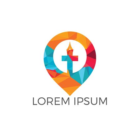 Church and map pointer logo design. Church and gps locator symbol or icon.  イラスト・ベクター素材