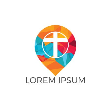 Church and map pointer logo design. Church and gps locator symbol or icon. Ilustração
