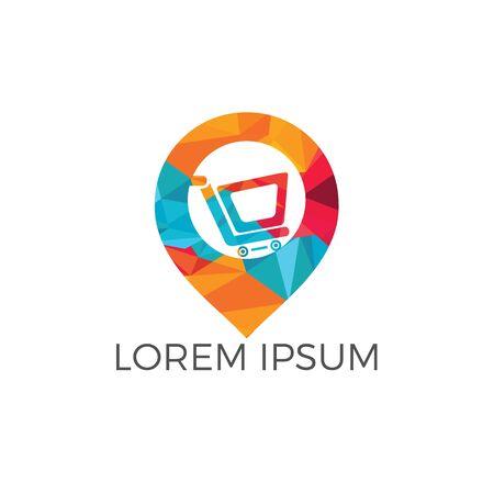 Shopping cart and map pointer logo design. Shopping mall GPS location pointer vector icon logo design template.