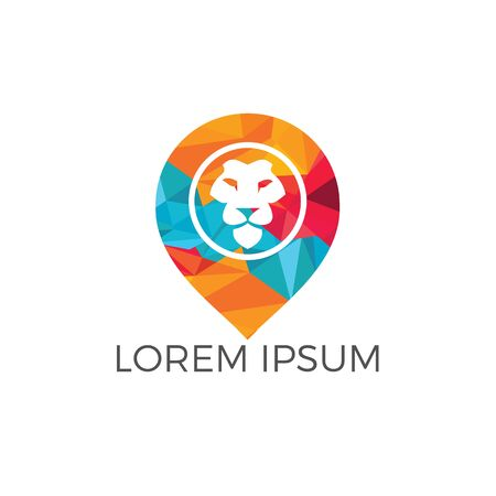 Lion and map pointer logo design. Lion locator logo design. Animal place icon.