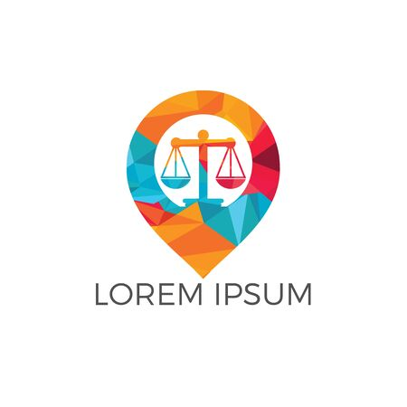 Libra and map pointer logo design. Unique law and pin logotype design template. Ilustração