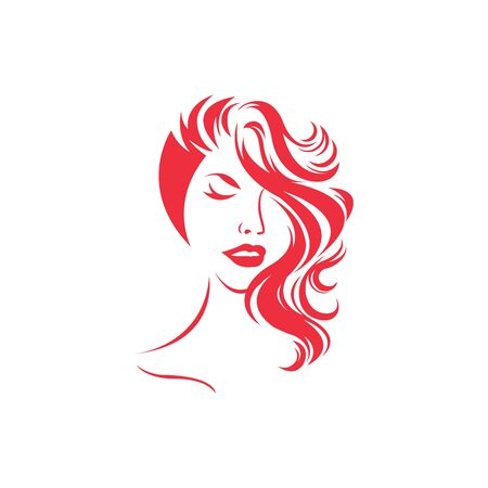 Beauty girl vector logo design. Vector emblem for hairdresser, spa salon, beauty shop for woman. illustration of women short hair style icon.