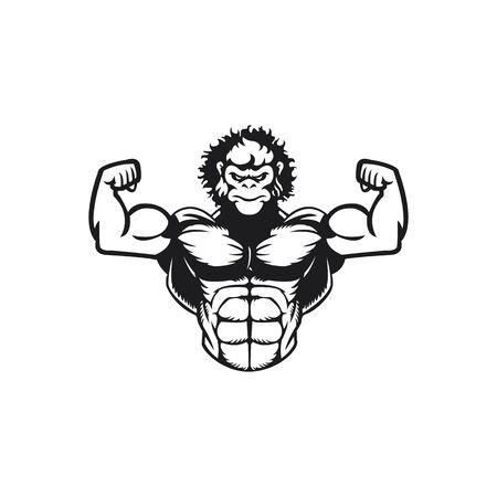 Gorilla muscle mascot logo design. Gorilla bodybuilder Vector illustration. Ilustração